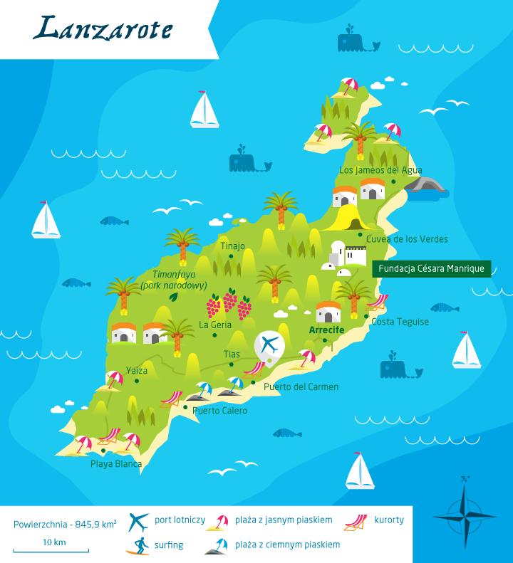 wyspy kanaryjskie lanzarote mapa