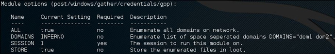 Metasploit gpp module options