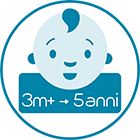 Appositamente studiato per neonati e bambini da 3 mesi a 5 anni