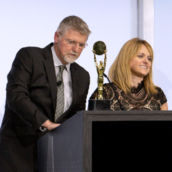 Mike Lyon and Cheri Lines at a company awards ceremony