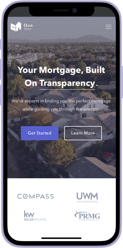 QuoHome mortgage iphone screen