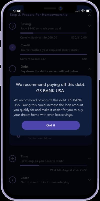 iphone screen of debt break down