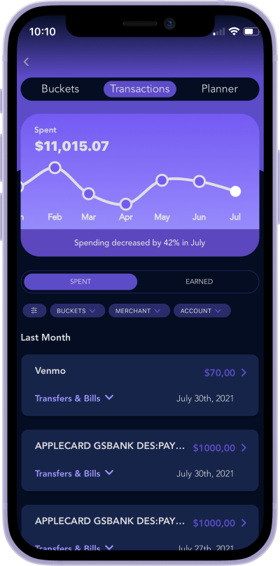 iphone screen of Quo budgeting feature