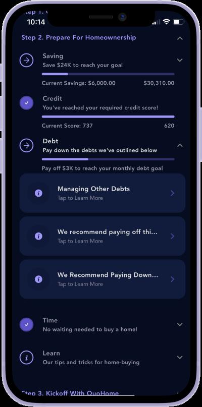 iphone screen of debt management
