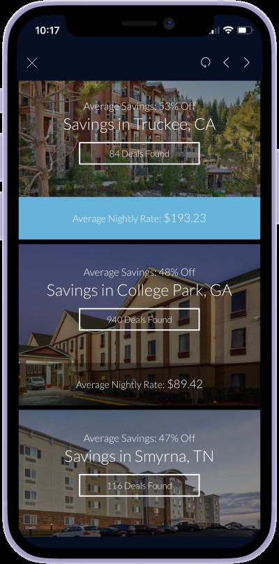 iphone screen of travel deals