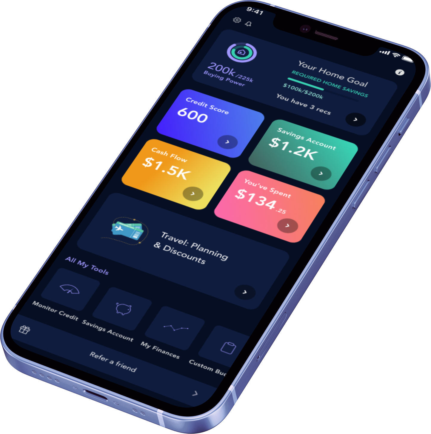 iphone home dashboard of Quo
