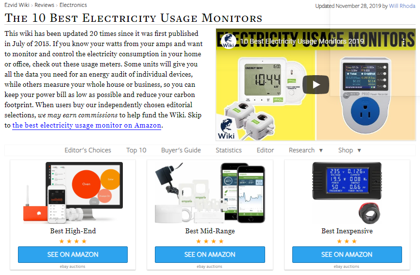 EZVid Ranks the Gen 2 Vue as the Best Energy Monitor