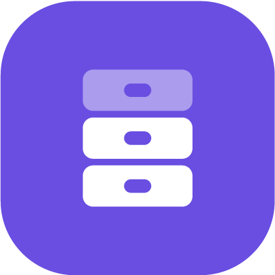 White and grey database l in purple background