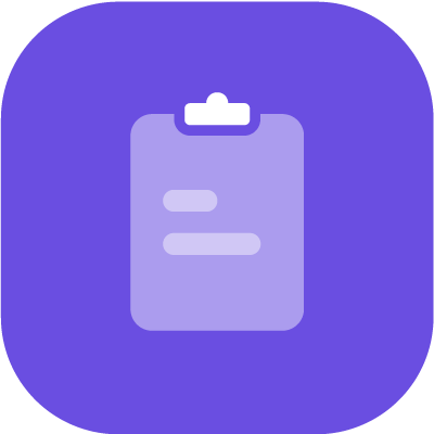 A writing pad icon in purple background
