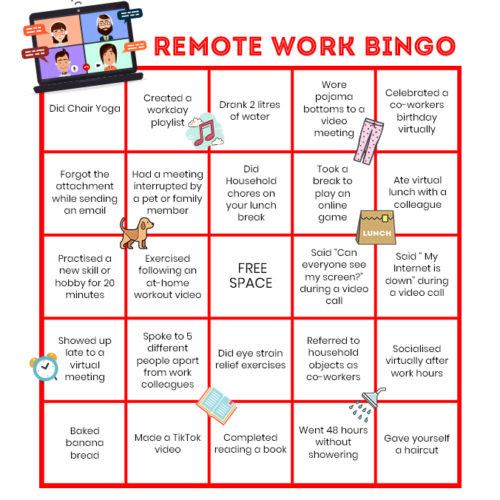 Remote work Bingo from Rush-a-way to break the ice (Image: Teambuilding.com)