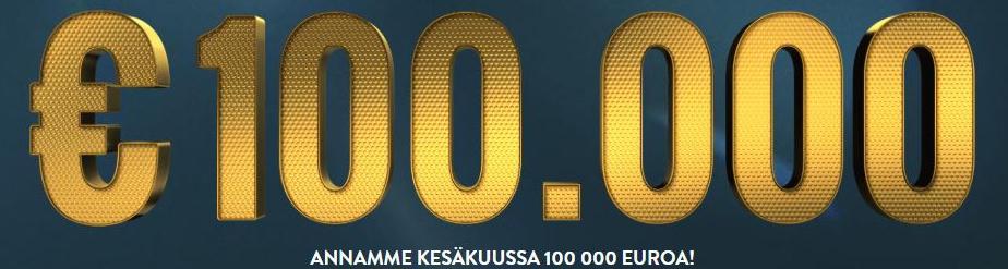 Pelaa ilman rekisteröitymistä - voita osuus 100 000€ potista