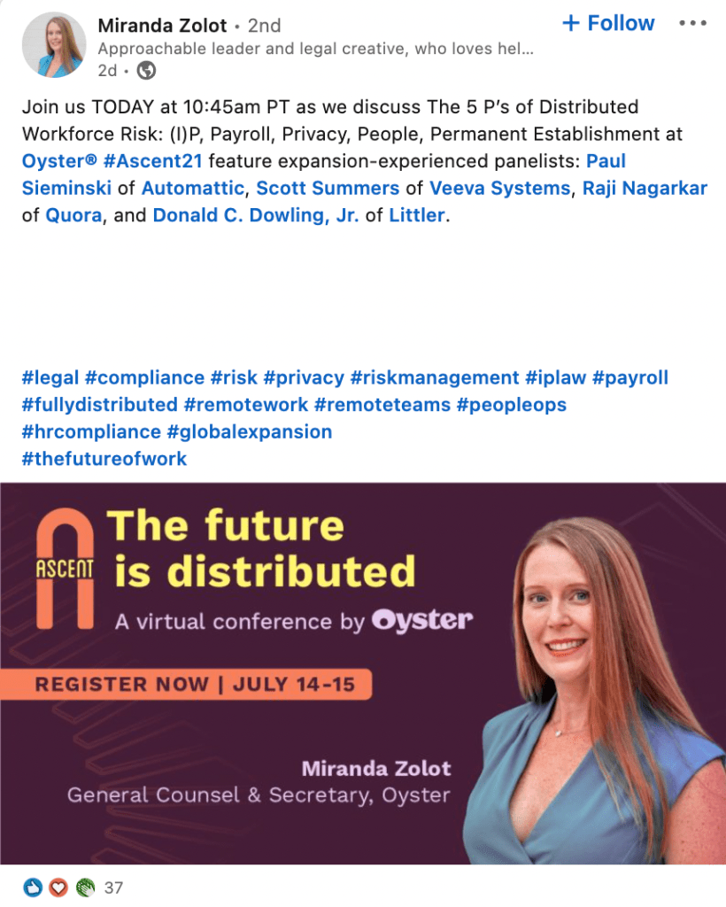 A tweet from Ascent speaker Miranda Zolot from Oyster