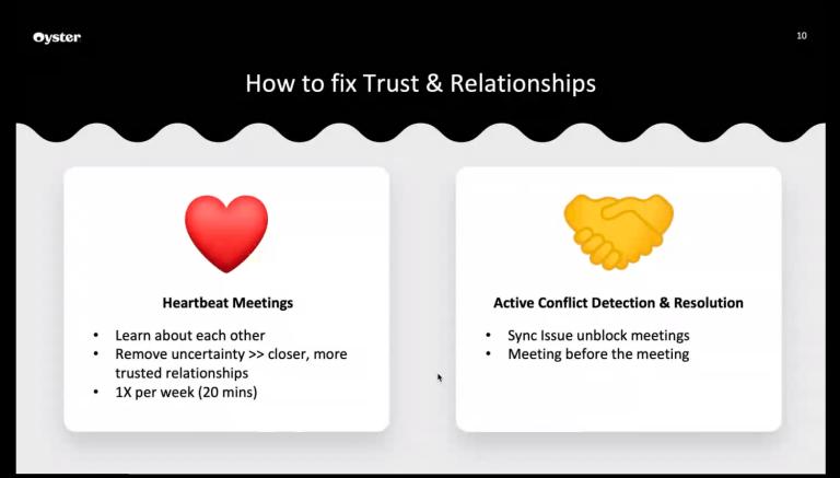 A presentation slide on how to fix trust and relationships in a distributed team