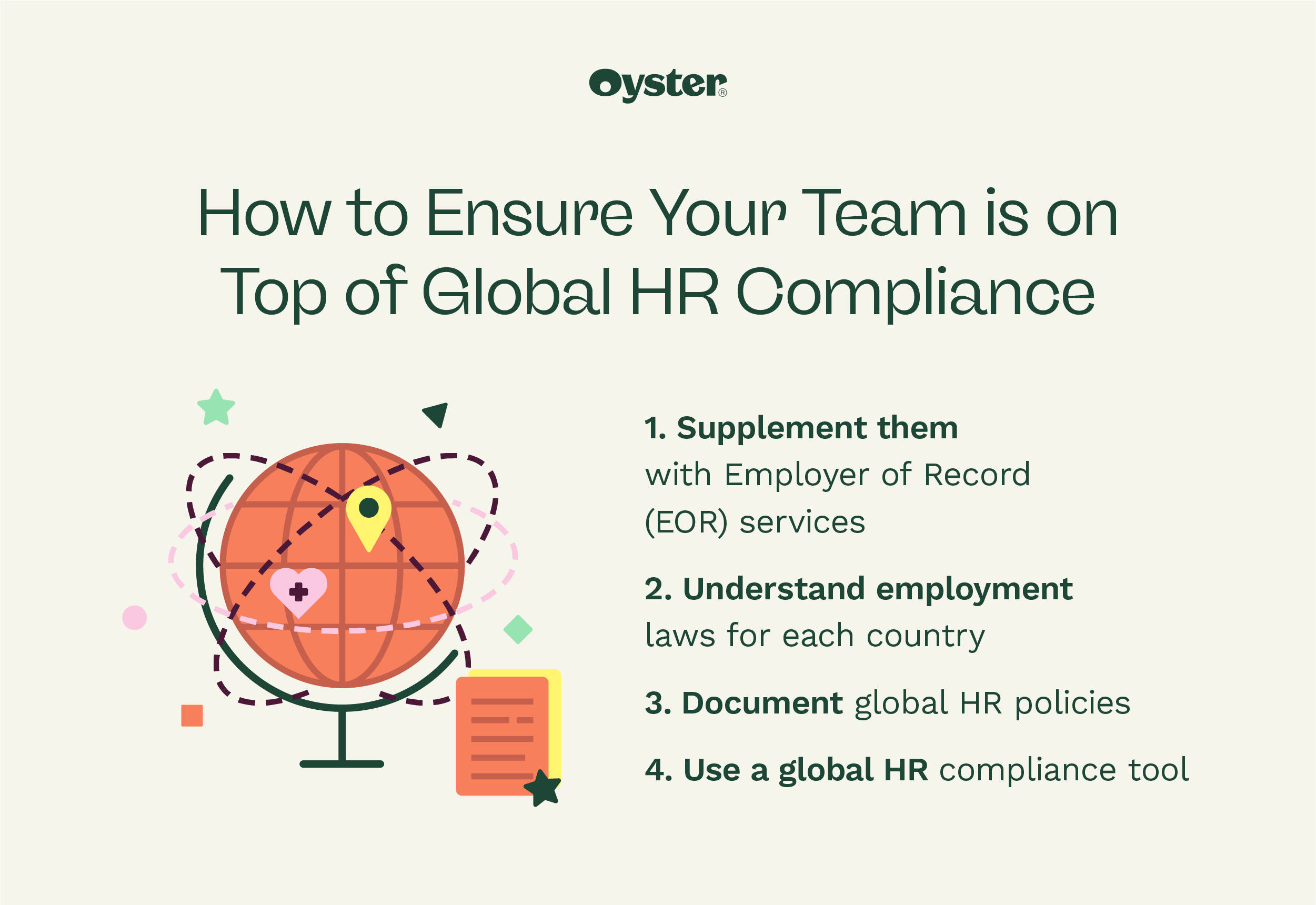 """Graphic that says """"how to ensure your team is on top of global HR compliance"""" with globe illustration"""