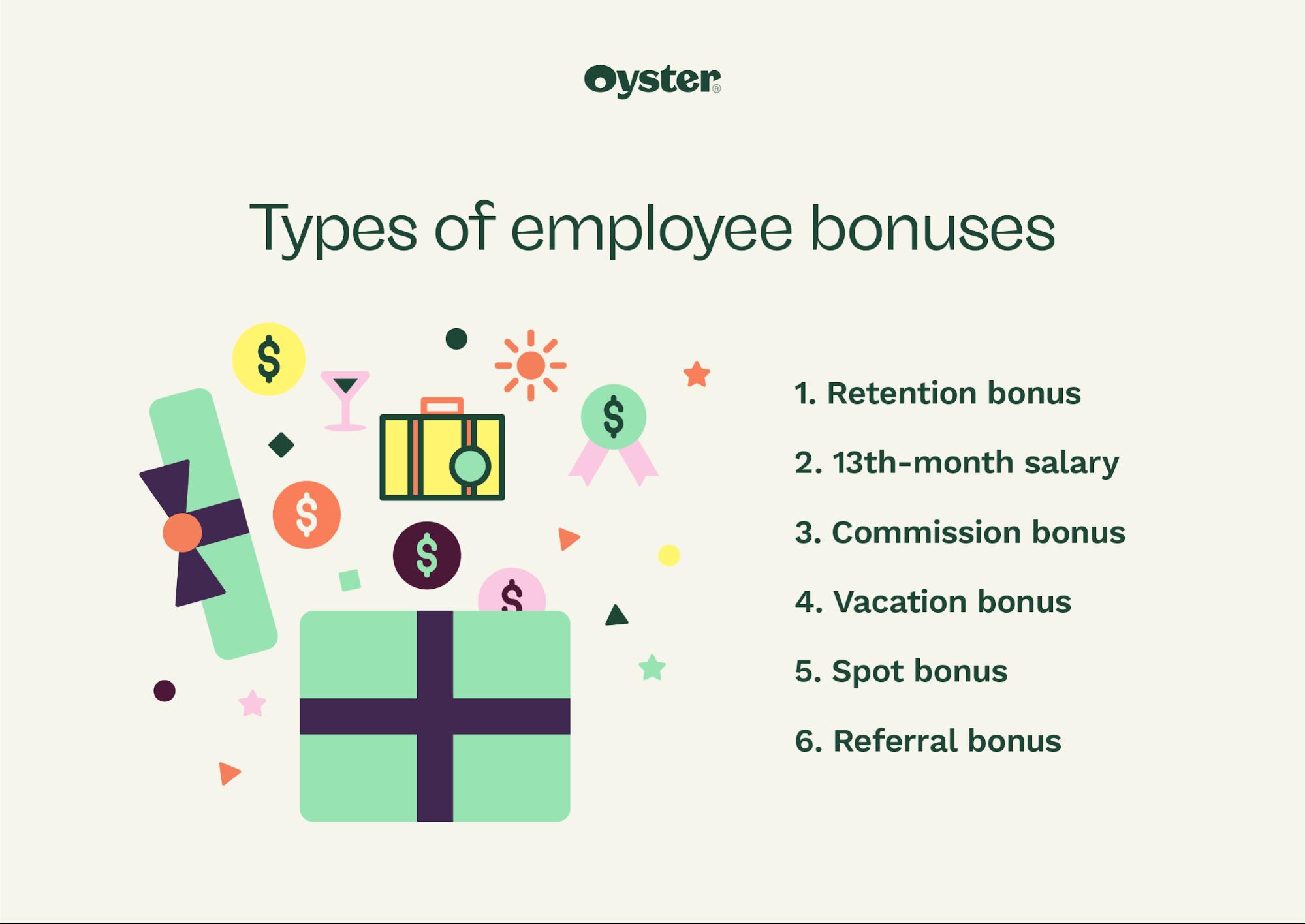 Graphic that says types of employee bonuses