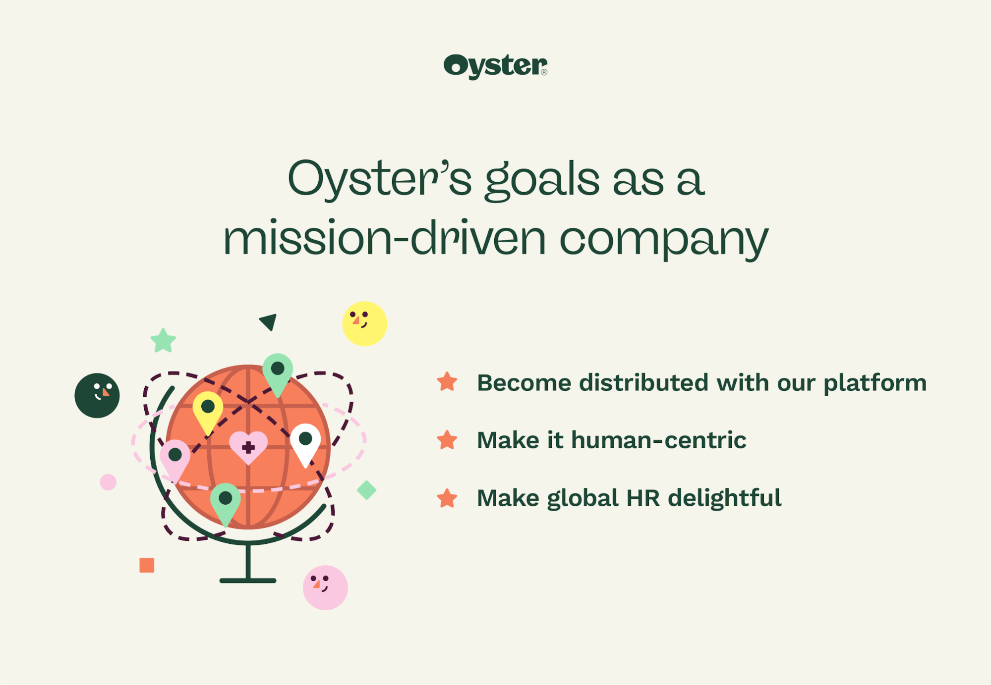 """Graphic that says """"Oyster's goals as a mission-driven company"""""""