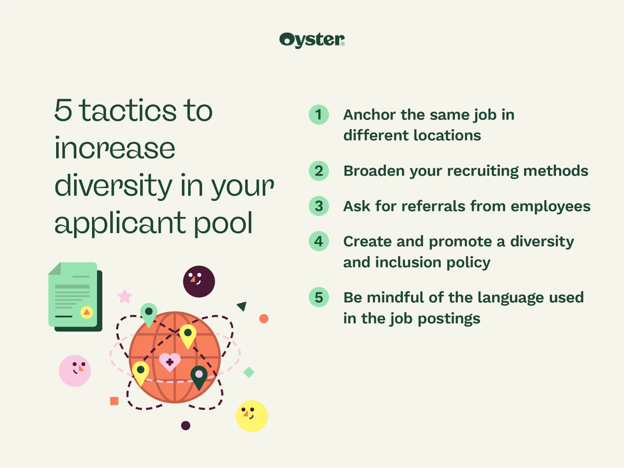 """Graphic that says """"5 tactics to increase diversity in your applicant pool"""""""
