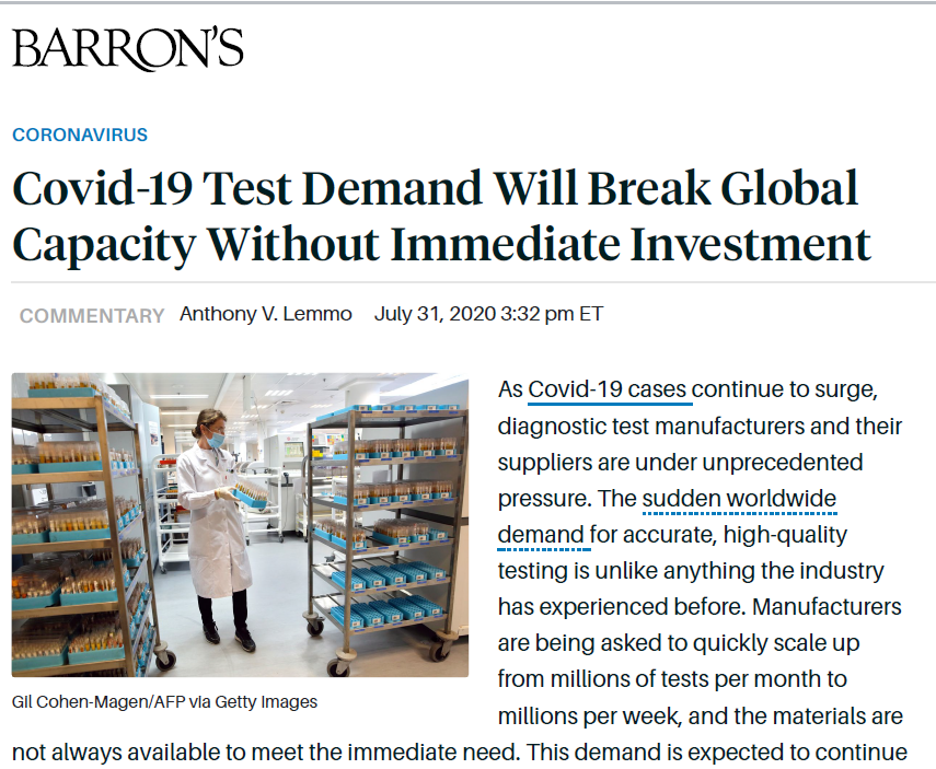 Barron's Article - Covid-19 Test Demand Will Break Global Capacity Without Immediate Investment