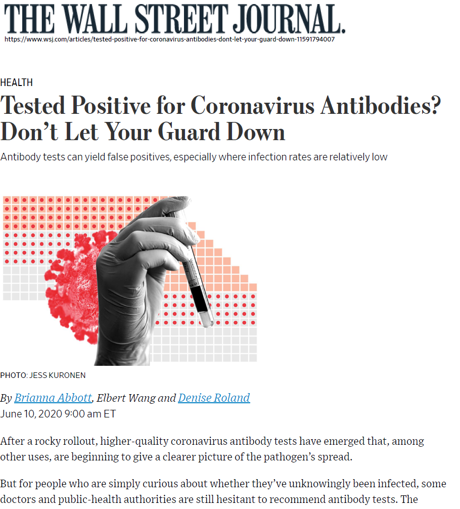 Antibody tests can yield false positives, especially where infection rates are relatively low