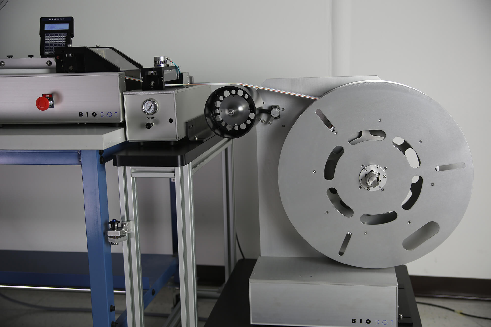 Take-up reel on LM9000 lateral flow lamination
