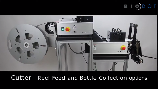 Cutter with roll feed and bottle collection