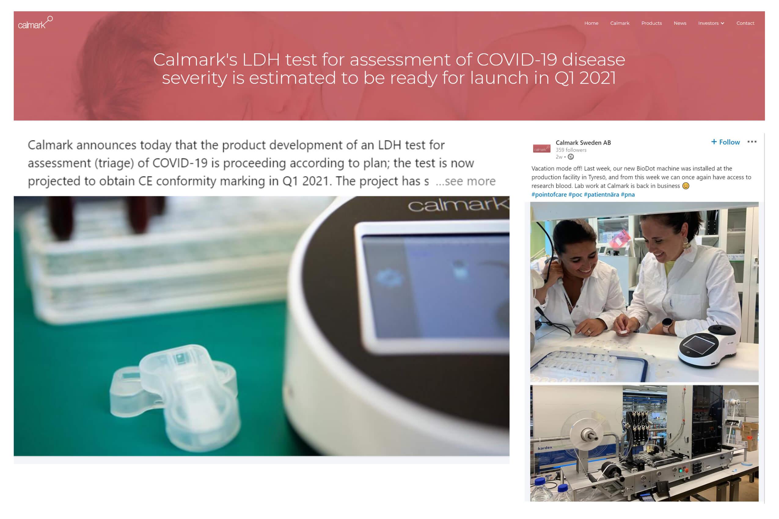 Calmark announces development of LDH test for assessment of Covid-19