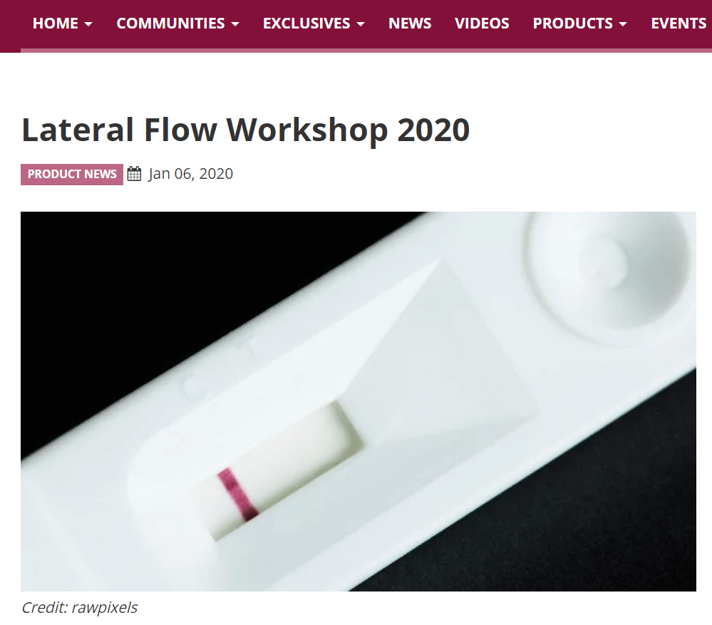 Lateral Flow Technology Workshop May 18-20, 2020