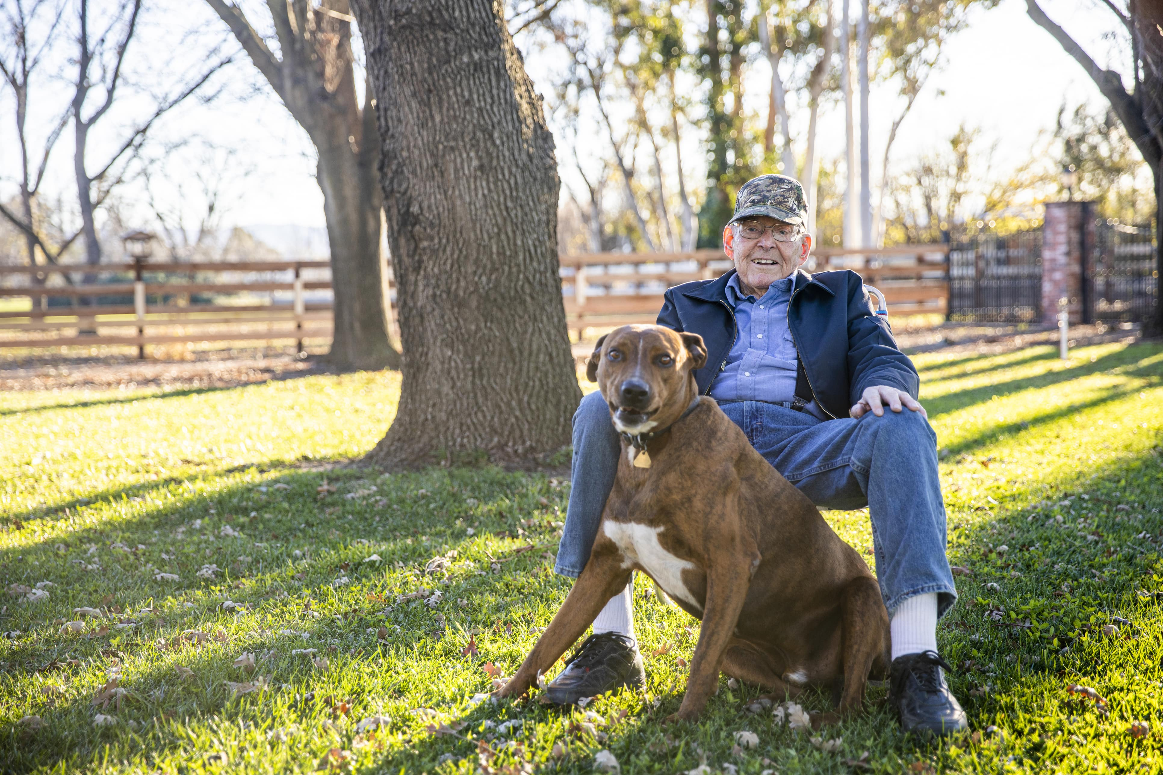 Retired veteran with his dog