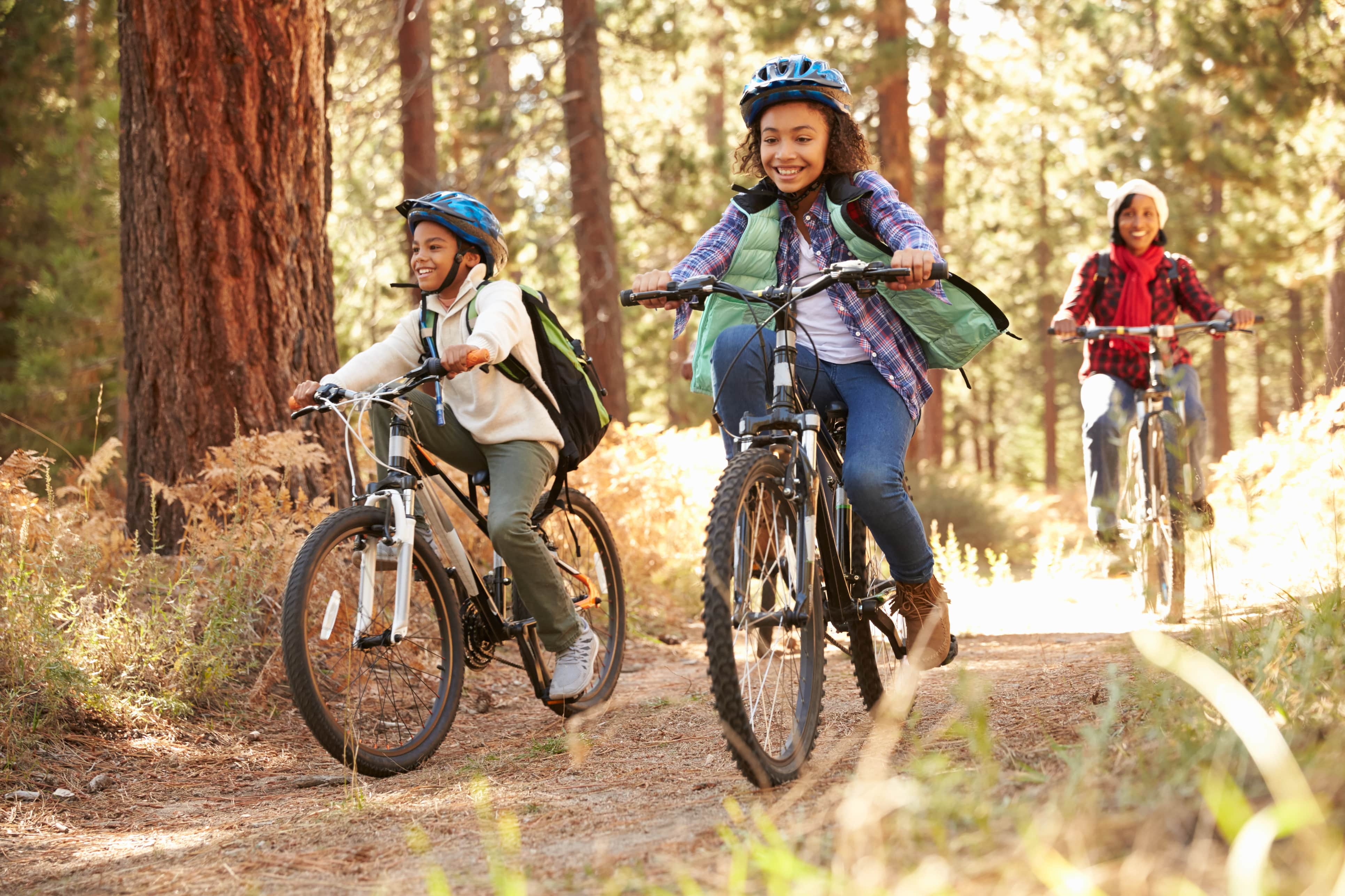 Group of people cycling recreationally