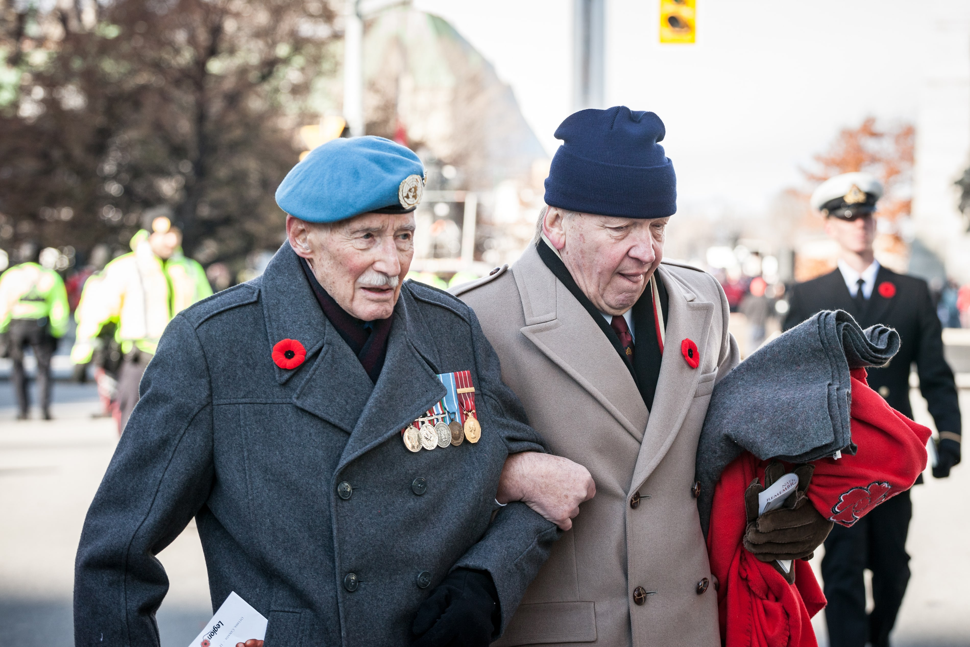 Veterans wearing poppies