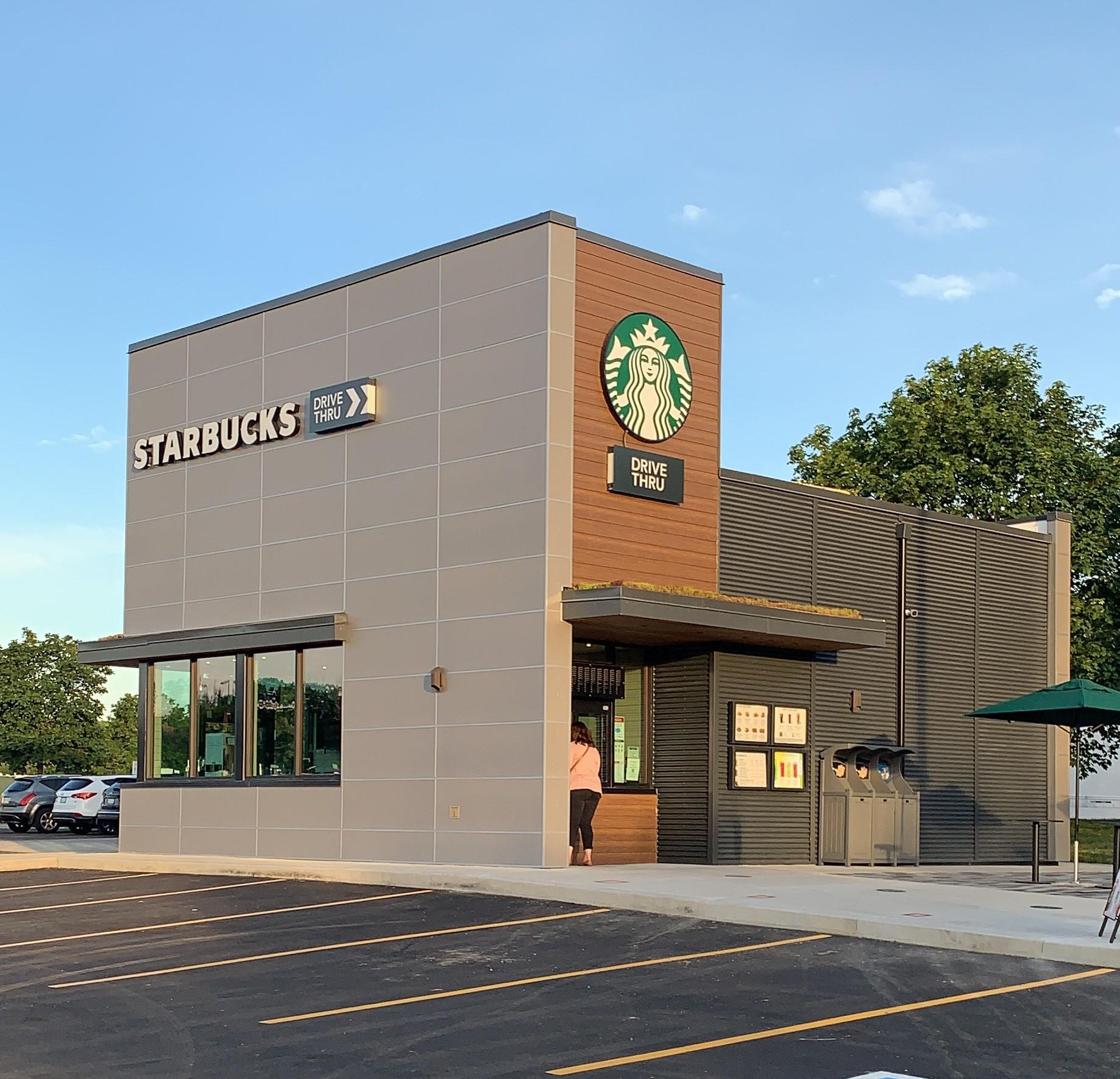 Starbucks building with walk-up window and drive-thru