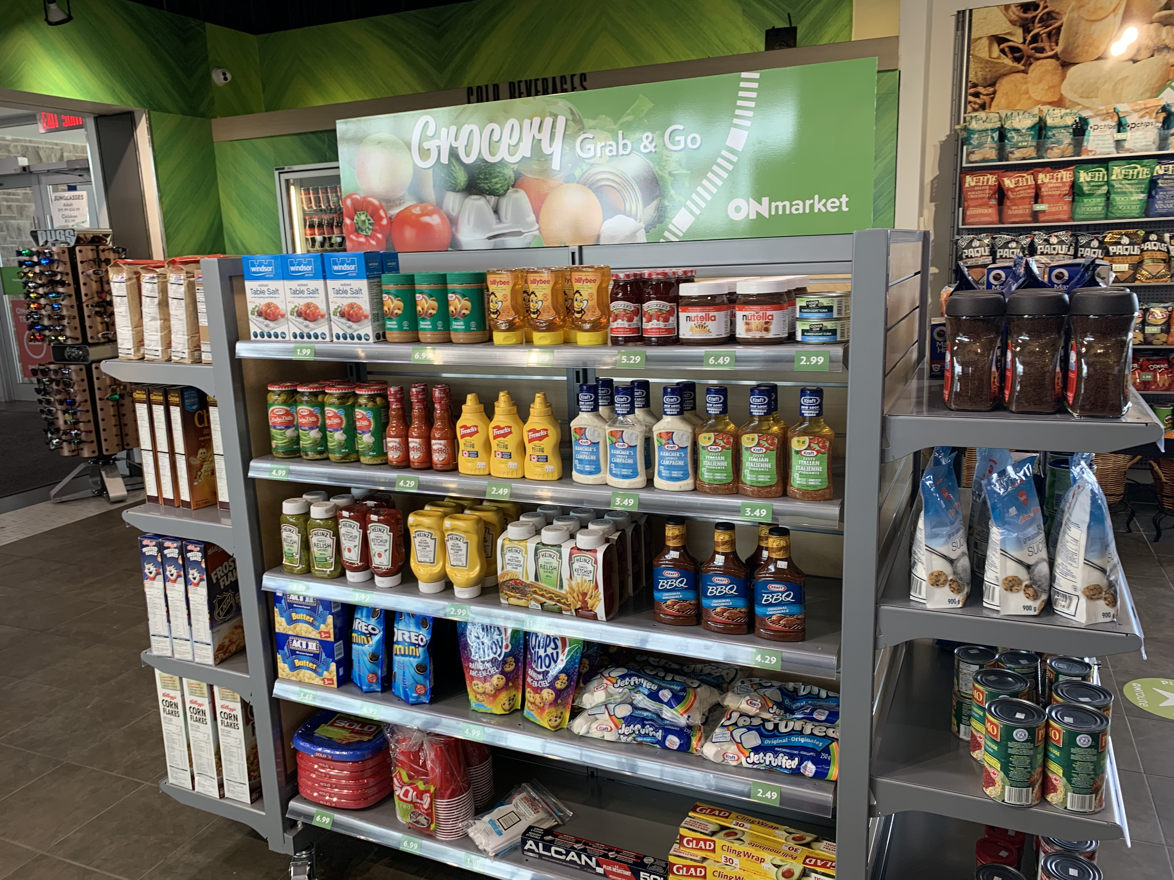 grocery shelves with various groceries