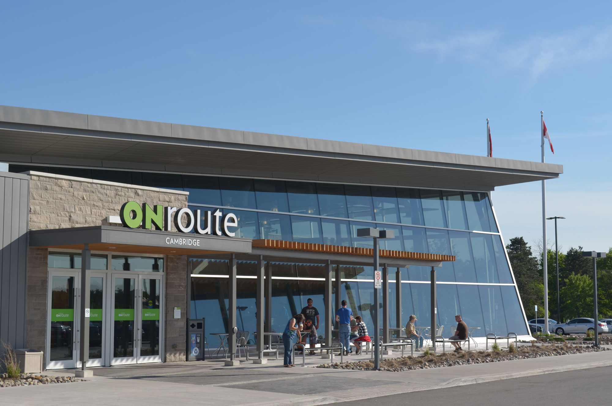 Exterior of ONroute plaza in Cambridge, ON