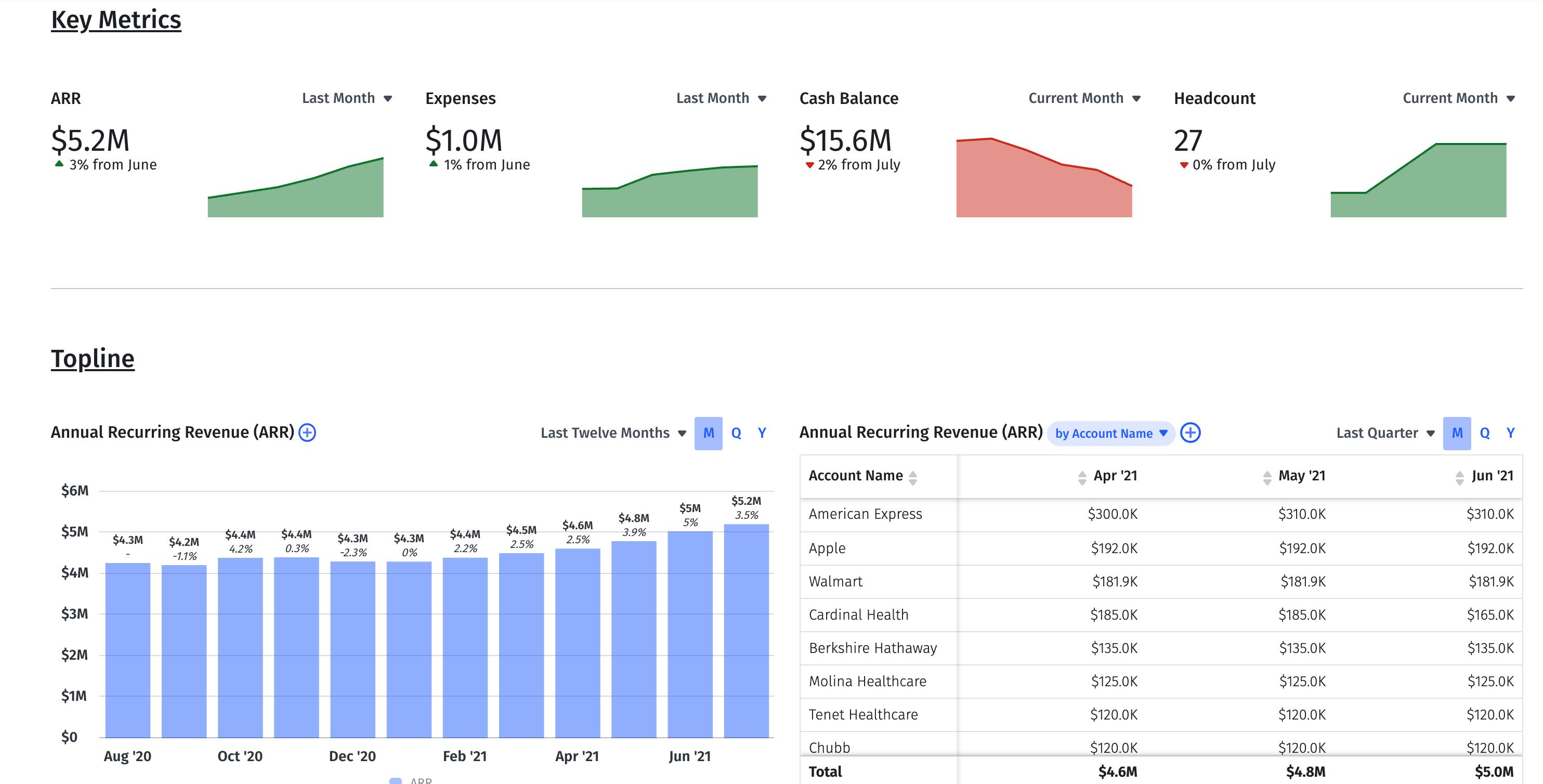 executive financial dashboard example arr expenses topline net burn headcount