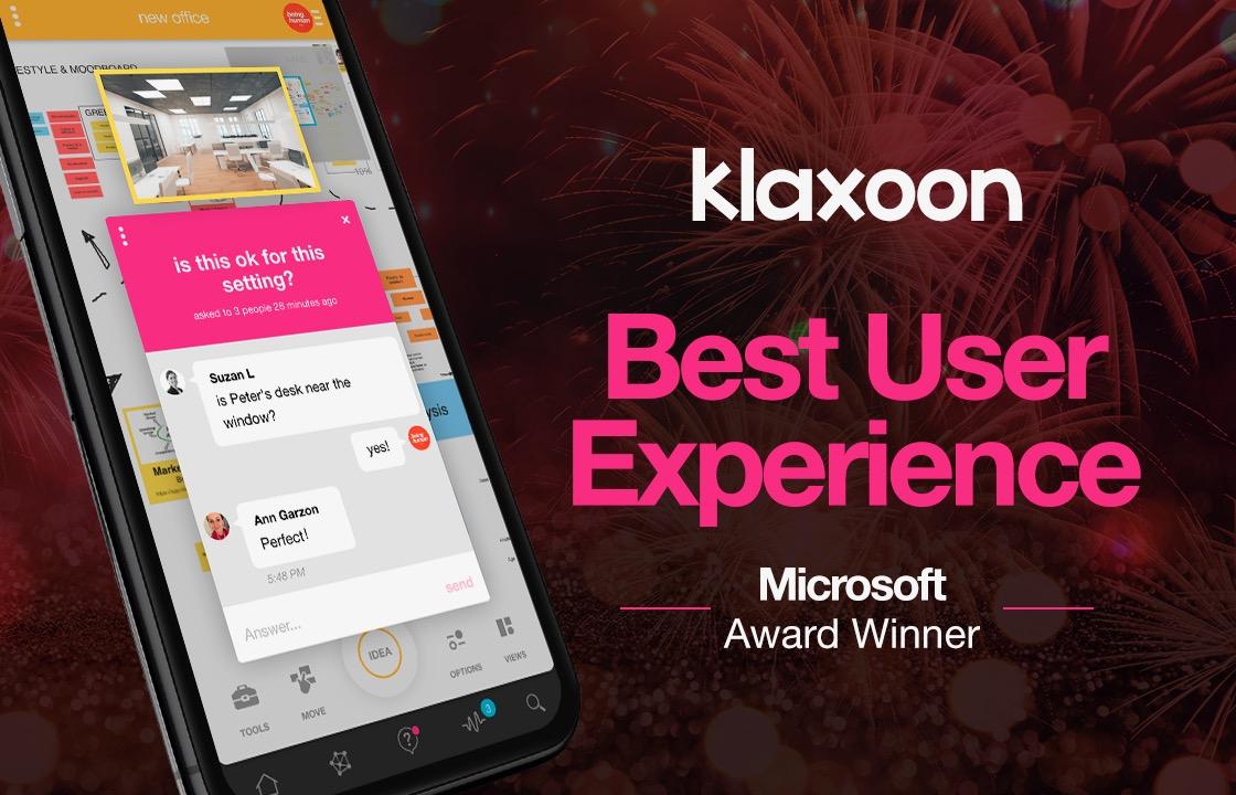 "Klaxoon honoured in Microsoft 365 app awards in ""Best User Experience"" category"