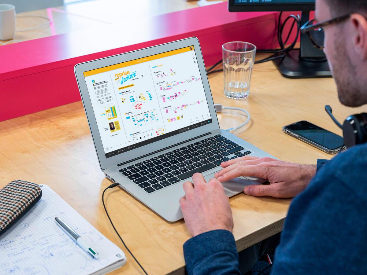 organiser reprise d'activité brainstorm sur ordinateur et smartphone