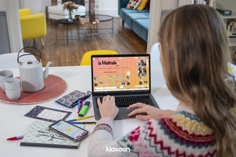 Une réunion à distance avec des outils collaboratifs   Klaxoon