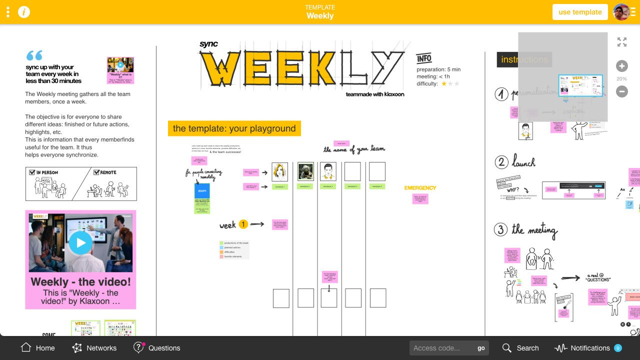 Weekly Template |Klaxoon