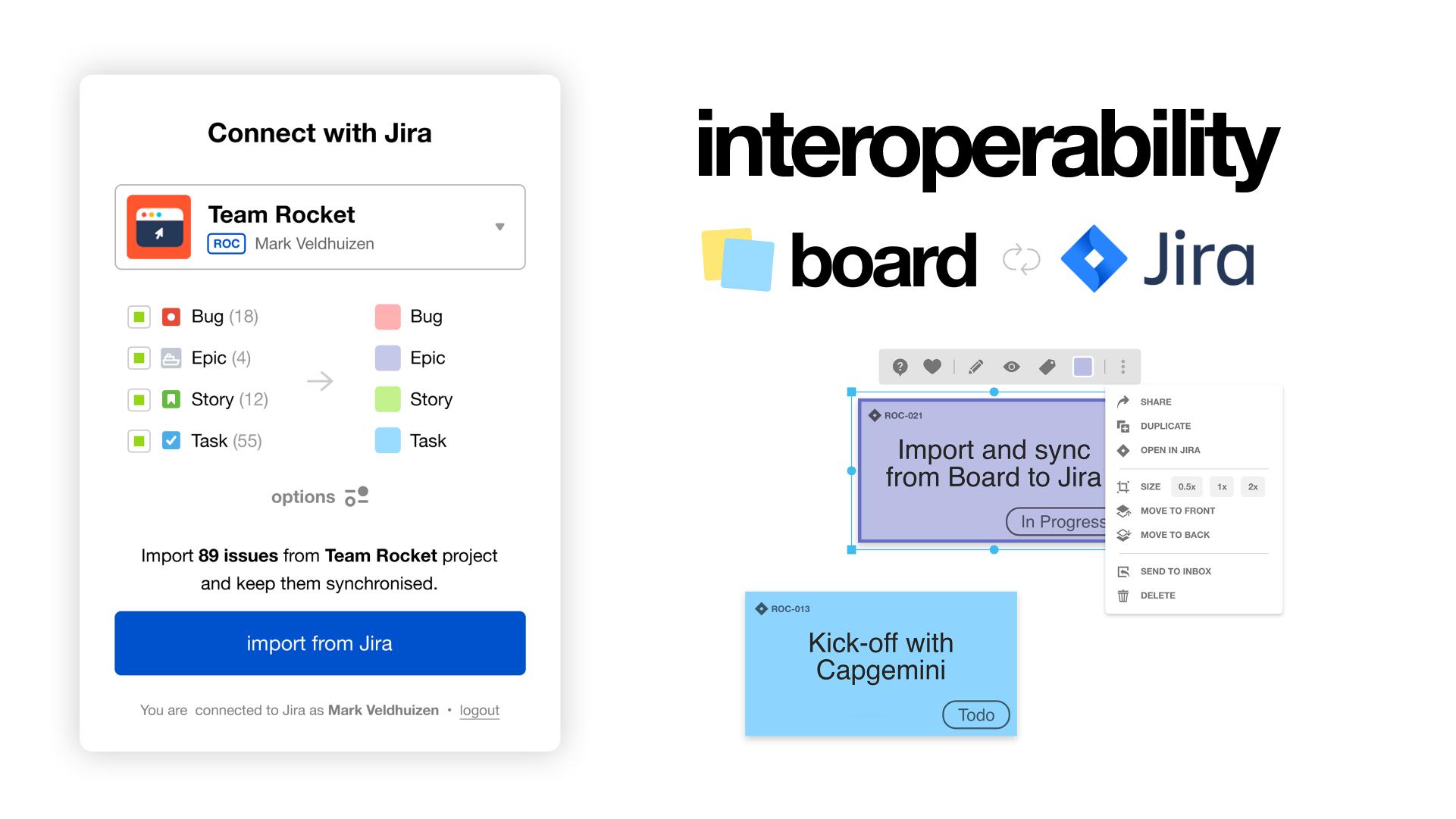 interoperability Jira and Board hybrid | Klaxoon