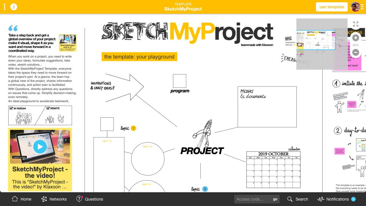 Template SketchMyProject |Klaxoon