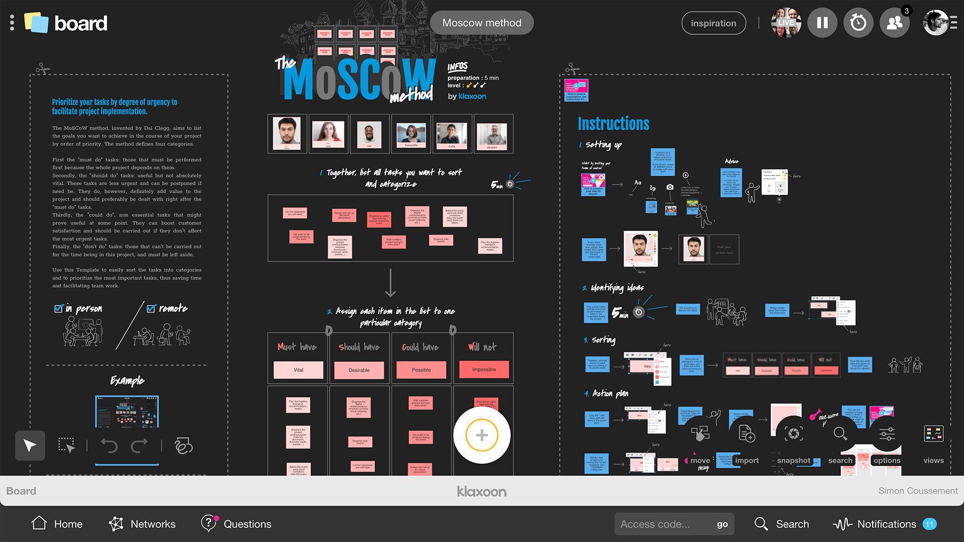Example the Moscow method |Klaxoon