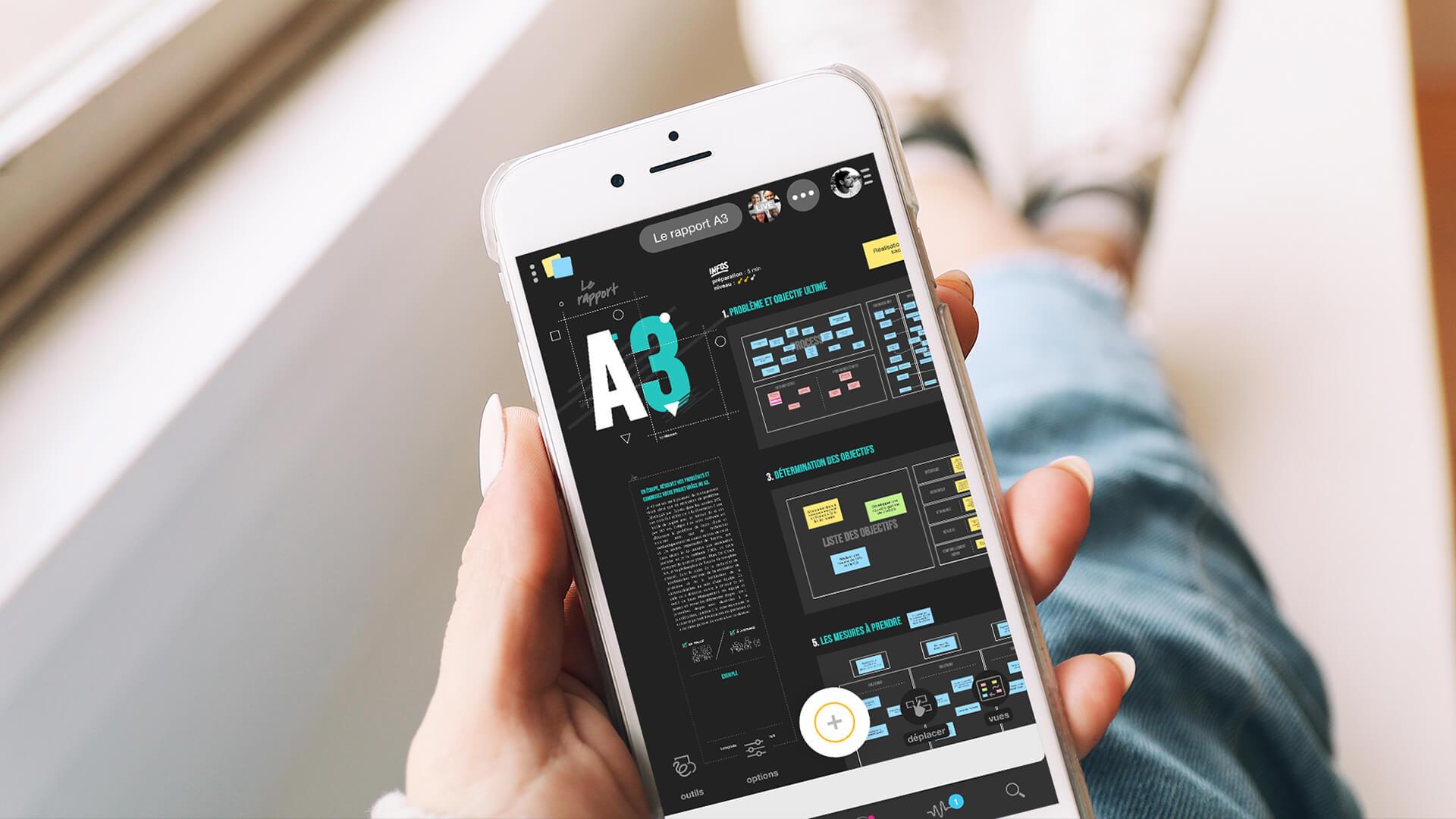Template rapport A3 Lean management sur smartphone | Klaxoon