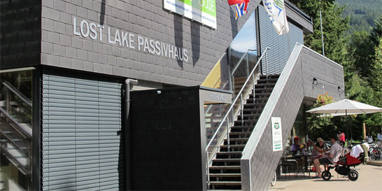 Exterior photo of the Lost Lake PassivHaus in Whistler