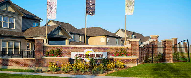 """Spruce Grove green community, sign saying """"Greenbury,"""" gardens, entrance. (Credit: City of Spruce Grove)"""