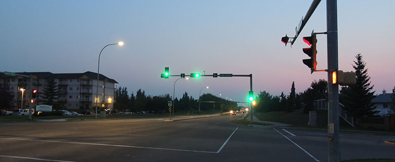 Street at night with traffic lights (Credit: Spruce Grove)