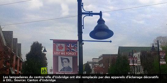 Lampadaires DEL à haut rendement à Uxbridge, en Ontario
