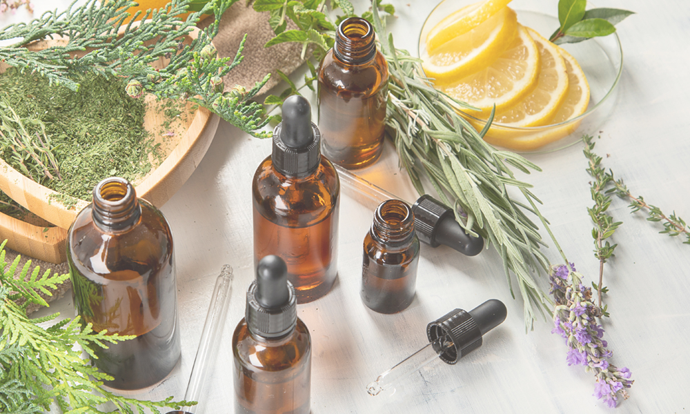 Essential oils with natural ingredients like lemon and lavender