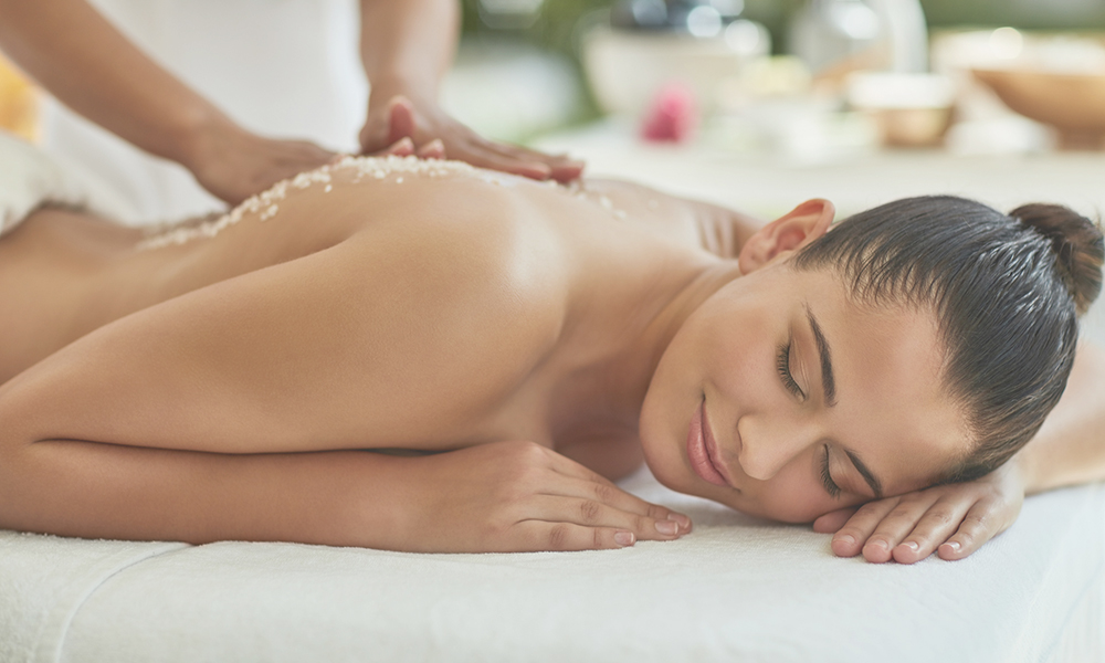 Woman enjoying a massage.