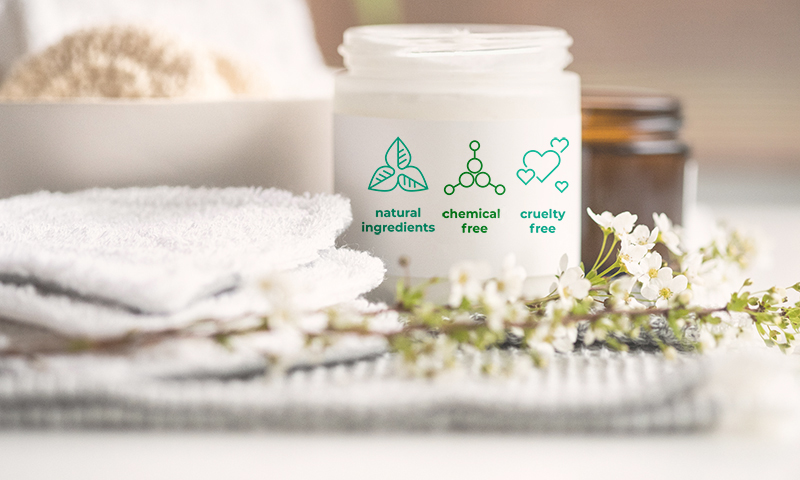 Container with chemical natural ingredients, chemical free and cruelty free on the label.