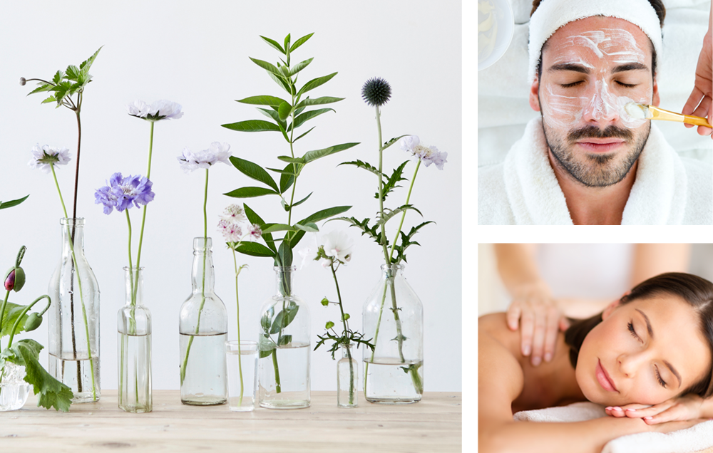 Montage of spa services and row of flowers in glass vases.
